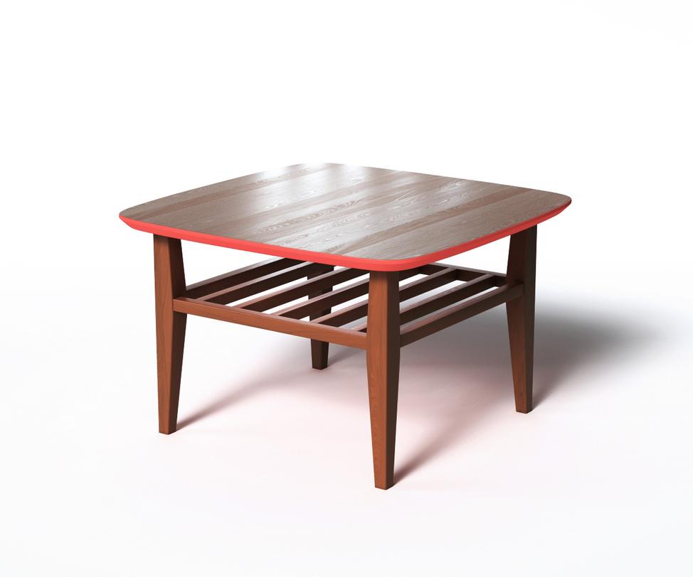 Журнальный стол WILSONЖурнальные столики<br>Журнальный столик WILSON в стиле скандинавского минимализма привлекает внимание оригинальной отделкой. Основная часть выполнена &amp;amp;nbsp;из натурального дерева темно-коричневого цвета. Нижняя поверхность столешницы окрашена в насыщенный красный цвет, что придает &amp;amp;nbsp;внешнему виду пикантности. За практичность отвечают дополнительная реечная полка и скругленные углы.<br><br>Material: Дерево<br>Ширина см: 70<br>Высота см: 45