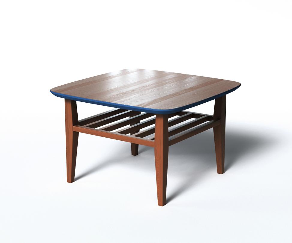 Журнальный стол WILSONЖурнальные столики<br>Журнальный столик WILSON в стиле скандинавского минимализма привлекает внимание оригинальной отделкой. Верх столешницы, нижняя полка и ножки выполнены в темном цвете. Контрастный элемент в виде синего цвета столешницы разбавит традиционный интерьер. Дополнительное удобство обеспечивает реечная полка, которую при желании можно оформить мягкой подушкой, создав стильную подставку для ног.<br><br>Material: Дерево<br>Length см: 70<br>Width см: 70<br>Depth см: None<br>Height см: 45<br>Diameter см: None
