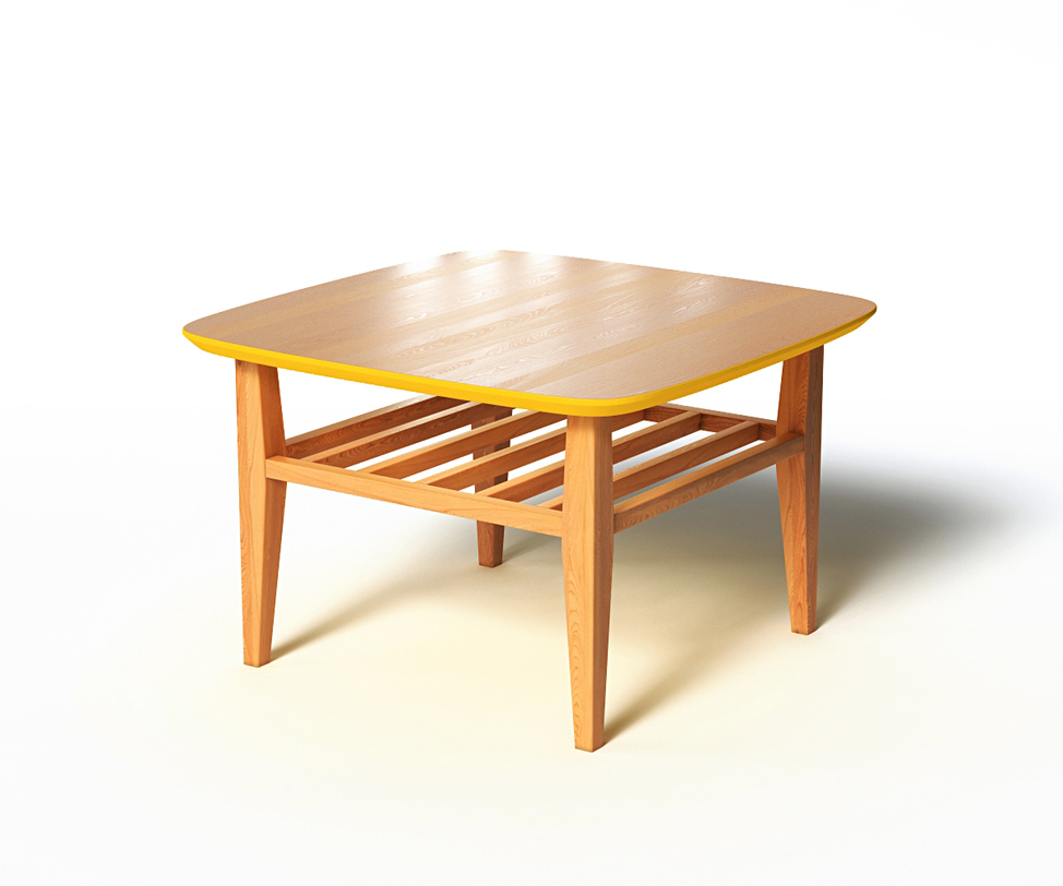 Журнальный стол WILSONЖурнальные столики<br>Журнальный столик WILSON удобен, практичен и функционален в использовании. Широкая столешница имеет скругленные углы, дополнительная реечная полка может служит своеобразной подставкой для ног, если украсить ее подходящей подушкой. Цветовым пятном служит ярко-желтый низ столешницы и кромка в тон. За счет подобной отделки можно поиграть с декором интерьера.<br><br>Material: Дерево<br>Ширина см: 70<br>Высота см: 45