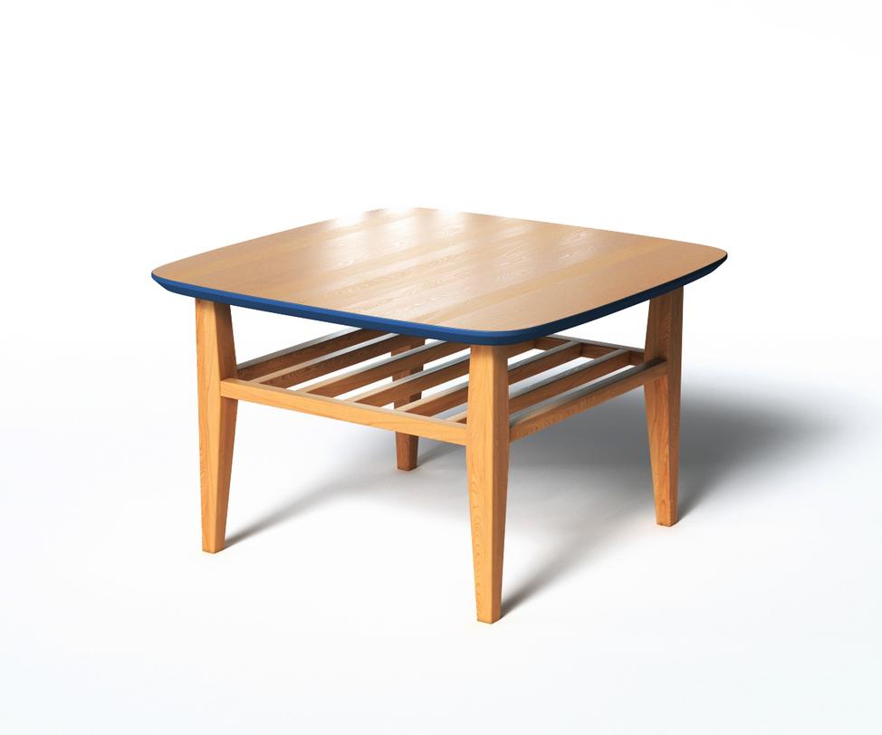 Журнальный стол WILSONЖурнальные столики<br>Журнальный столик WILSON удобен, практичен и функционален в использовании. Широкая столешница имеет скругленные углы, дополнительная реечная полка может служит своеобразной подставкой для ног, если украсить ее подходящей подушкой. Темно-синий низ столешницы и кромки выступает разделительной чертой между деталями столика. За счет подобной отделки можно поиграть с декором интерьера.<br><br>Material: Дерево<br>Length см: 70<br>Width см: 70<br>Depth см: None<br>Height см: 45<br>Diameter см: None