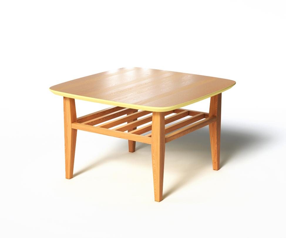 Журнальный стол WILSONЖурнальные столики<br>Журнальный столик WILSON соединяет в себе все лучшее, что есть в скандинавском стиле. Натуральное дерево подчеркнет тягу к природе в оформлении пространства. Столешница разделяет верхнюю и нижнюю части стола за счет бежевой отделки. Реечная нижняя полочка, скругленные уголки и зауженные ножки создают баланс формы. Подойдет для интерьеров, выполненных в стиле деревенского домика.<br><br>Material: Дерево<br>Length см: 70<br>Width см: 70<br>Depth см: None<br>Height см: 45<br>Diameter см: None