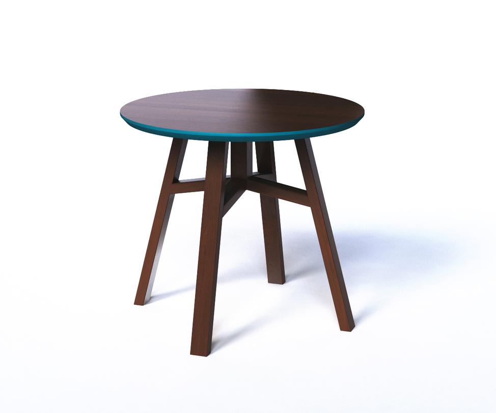 Стол MackКофейные столики<br>Кофейный столик Маск напоминает &amp;amp;nbsp;простой табурет — такой же незатейливый, легкий и практичный. Он изготовлен из МДФ в темно-ореховой гамме с сохранением древесного рисунка, а по торцевой части столешницы украшен яркой бирюзовой фаской.<br>Срок изготовления 10 рабочих дней.<br><br>Material: МДФ<br>Length см: None<br>Width см: None<br>Depth см: None<br>Height см: 50.0<br>Diameter см: 55.0
