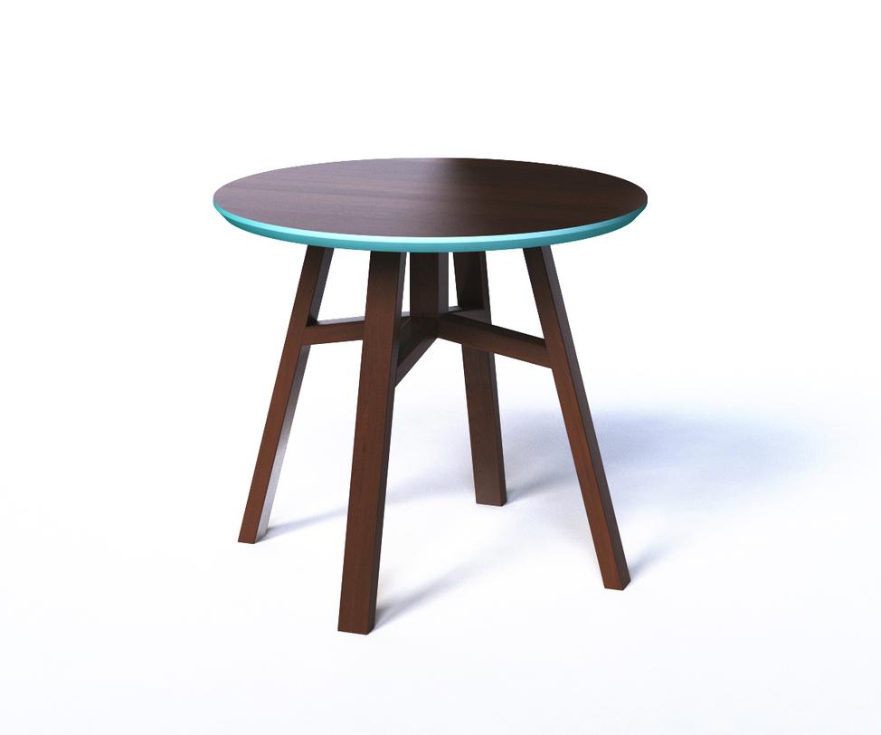 Стол MackКофейные столики<br>Этот небольшой кофейный столик в форме круглого табурета удобный и легкий. Ножки из натурального массива дуба прочны и устойчивы. Столешница, изготовленная из шпонированного МДФ, окрашена в темный шоколадный оттенок, а с торцевой части окаймлена фаской приятного мятного оттенка.<br>Срок изготовления 10 рабочих дней.<br><br>Material: МДФ<br>Высота см: 50
