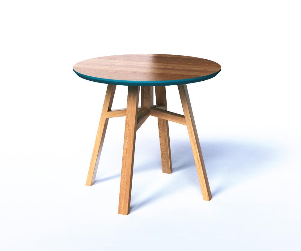 Журнальный стол MACKЖурнальные столики<br>Круглый журнальный столик MACK&amp;amp;nbsp;станет одновременно стильным и практичным предметом гостиной. Круглая столешница крепится к четырем ножкам с легким наклоном. Лаконичность форм компенсируется ярким цветовым акцентом: бирюзовой кромкой и нижним основанием столешницы. Такой подход позволяет поэкспериментировать с цветовыми акцентами в интерьере.<br><br>Material: Дерево<br>Высота см: 50