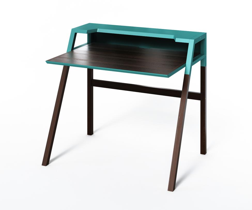 Компьютерный стол YOUKПисьменные столы<br>Монохромный столик из коллекции &amp;quot;Idea&amp;quot; воплощает в себе тренды функционального минимализма. Темно коричневый цвет дерева дополняет зелено-бирюзовая отделка верха. Идеален для скандинавского интерьера, а также хай-тека.<br><br>Material: Дерево<br>Ширина см: 70<br>Высота см: 88<br>Глубина см: 90