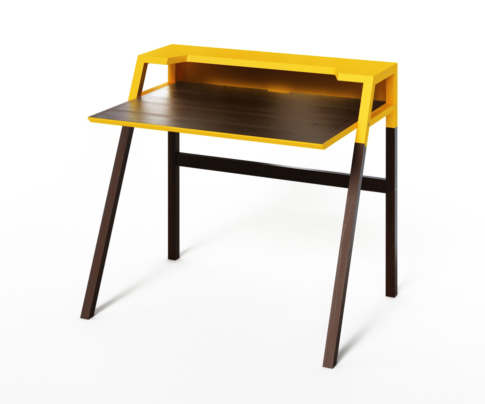 Компьютерный стол YOUKПисьменные столы<br>Монохромный столик из коллекции &amp;quot;Idea&amp;quot; воплощает в себе тенденции минимализма и практичности. Ярко-желтая отделка верхней полки заряжает энергией, а темный венге упорядочит пространство. Идеален для скандинавского интерьера, а также хай-тека.<br><br>Material: Дерево<br>Ширина см: 70<br>Высота см: 88<br>Глубина см: 90