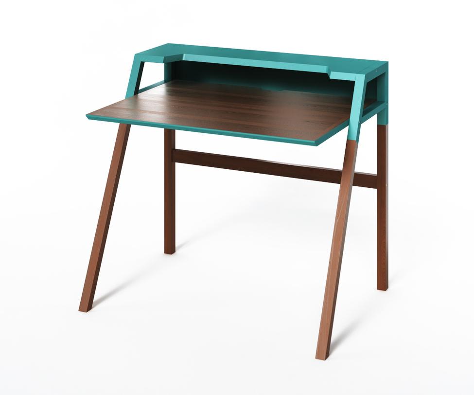 Компьютерный стол YOUKПисьменные столы<br>Столик&amp;amp;nbsp;YOUK рожден для энергичной работы за компьютером. Холодный голубой в сочетании с теплым тоном темного дерева организуют рабочее место, придавая ему яркие нотки. Идеален для интерьеров, выполненных в минималистичных стилях.<br><br>Material: Дерево<br>Ширина см: 70<br>Высота см: 88<br>Глубина см: 90