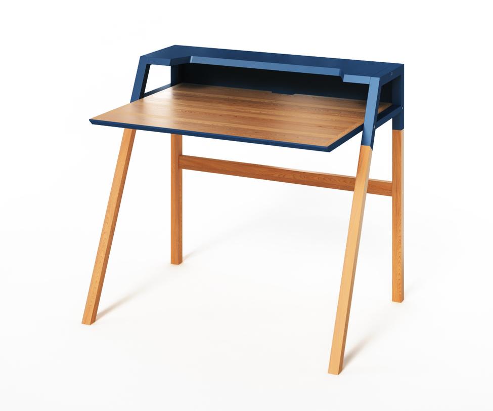 Компьютерный стол YOUKПисьменные столы<br>Компактный столик, одновременно стильный и функциональный. В нем &amp;amp;nbsp;геометрически выверена каждая деталь: цветовое исполнение строго поделено на две части, в корпусе использованы только прямые линии. Такой прагматичный подход к строению не лишает столик YOUK яркости. Синяя отделка верхней полки и кромки столешницы добавит футуристичных ноток в рабочее пространство. Он идеально подойдет и для ноутбука, и для стационарного компьютера.<br><br>Material: Дерево<br>Ширина см: 77<br>Высота см: 88<br>Глубина см: 90