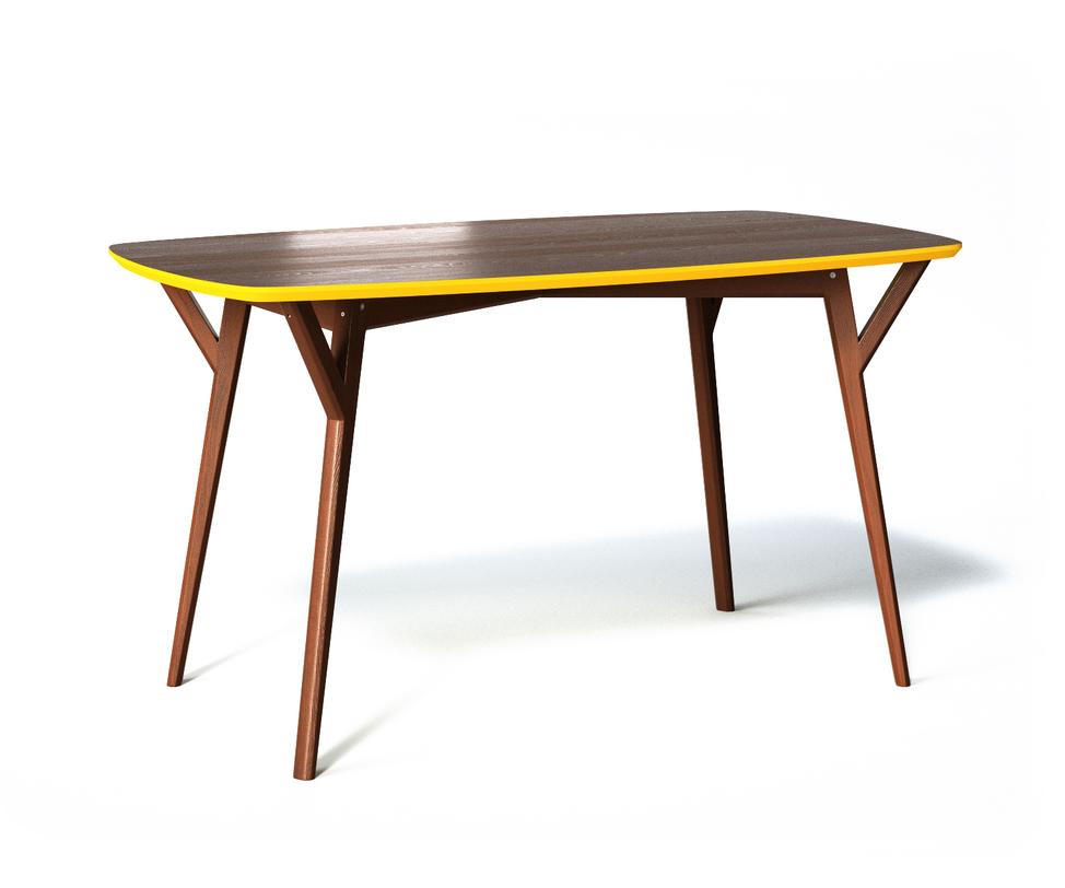 Обеденный стол PROSOОбеденные столы<br>Крышка обеденного стола Proso изготовлена из натуральной древесины приятного шоколадного цвета с красивым природным рисунком, а торцевая часть с чуть скошенными углами окаймлена ярко-желтой фаской. Ножки с дополнительными креплениями достаточно легкие и устойчивые, чтобы стол можно было легко передвинуть.<br><br>Material: Дерево<br>Ширина см: 140<br>Высота см: 75<br>Глубина см: 80