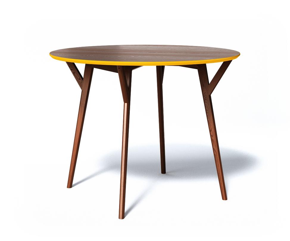 Обеденный стол CIRCLEОбеденные столы<br>Стол Circle изготовлен из древесины оттенка темного дуба, очень богатого и благородного. Тем оригинальнее он выглядит, подчеркнутый яркой охристой фаской по торцу столешницы. Тонкие, но очень крепкие ножки выточены из цельного массива и дополнительно усилены небольшими распорками-креплениями.<br>Срок изготовления 10 рабочих дней.<br><br>Material: Дерево<br>Высота см: 75