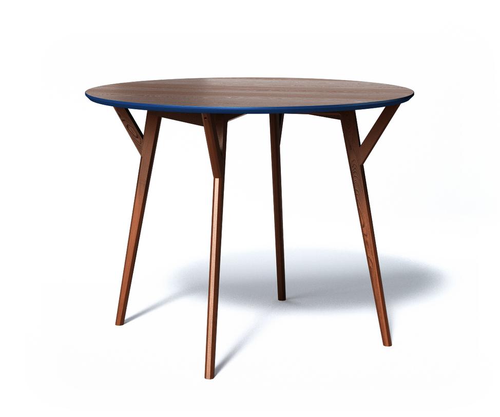 Обеденный стол CIRCLEОбеденные столы<br>Яркая фаска насыщенного синего цвета отлично подчеркивает натуральный, темный оттенок древесины, из которой изготовлен этот стол. Изящные, но очень устойчивые ножки вырезаны из цельного массива и дополнительно усилены специальными креплениями-распорками. Столешница выполнена из МДФ.<br>Срок изготовления 10 рабочих дней.<br><br>Material: Дерево<br>Length см: None<br>Width см: None<br>Depth см: None<br>Height см: 75<br>Diameter см: 102