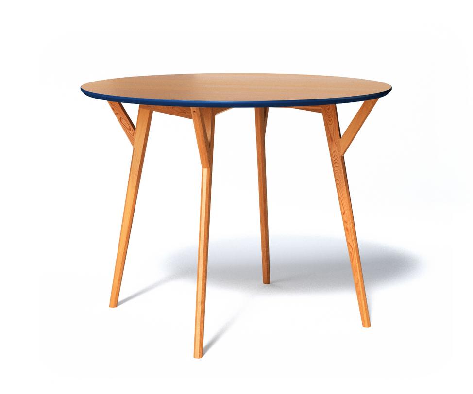 Обеденный стол CIRCLEОбеденные столы<br>Кухонный стол Circle округлой формы изготовлен из натуральной древесины оттенка светлый бук. С торцевой части столешница декорирована цветной фаской насыщенного синего цвета - любимый дизайнерский ход The Idea, придающий стандартной на вид мебели оригинальность. Ножки при креплении к крышке дополнительно усилены распорками.<br>Срок изготовления 10 рабочих дней.<br><br>Material: Дерево<br>Length см: None<br>Width см: None<br>Depth см: None<br>Height см: 75<br>Diameter см: 102