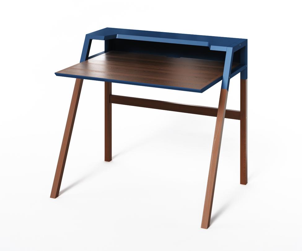 Компьютерный стол YoukПисьменные столы<br>Стол-парта Youk оптимальна для школьников и студентов или когда нужно организовать удобное рабочее место в небольшой комнате. Дизайн этой модели - современный и ненавязчивый. Нижняя часть ножек и столешница имеют традиционное &amp;quot;древесное&amp;quot; покрытие, а полка для канцелярии окрашена в насыщенный синий цвет.<br>Срок изготовления 10 рабочих дней.<br><br>Material: Дерево<br>Ширина см: 90<br>Высота см: 88<br>Глубина см: 70