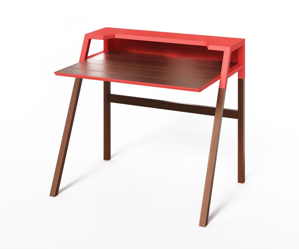 Компьютерный стол YoukПисьменные столы<br>Современный компьютерный стол Youk изготовлен из массива дуба со столешницей из МДФ. Верхняя полка и часть ножек окрашены в яркий коралловый оттенок, такой же фаской окаймлена торцевая часть крышки. Для удобства пользователя предусмотрены разъемы для компьютерных шнуров, а цветовую гамму можно выбрать из палитры самостоятельно.<br>Срок изготовления 10 рабочих дней.<br><br>Material: Дуб<br>Length см: None<br>Width см: 90<br>Depth см: 70<br>Height см: 88<br>Diameter см: None
