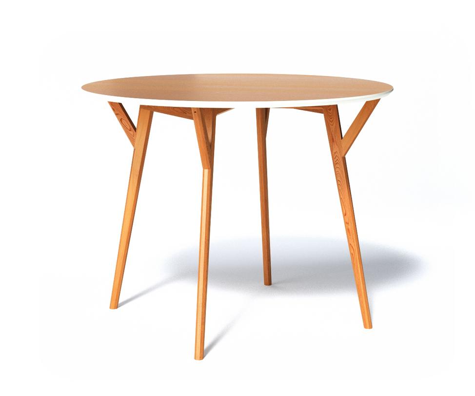 Обеденный стол CircleОбеденные столы<br>Этот круглый стол для современной уютной кухни имеет почти невесомую конструкцию. Между тем, он очень устойчивый и крепкий, а ножки из цельной древесины дополнительно усилены распорками. Столешница изготовлена из шпонированного ДСП и окрашена в цвет светлого дуба, а с торца украшена фаской оттенка слоновой кости.<br><br>Material: Дуб<br>Высота см: 75