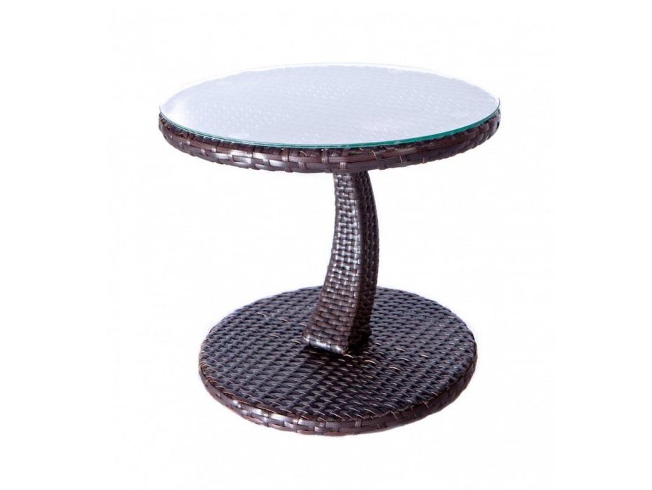 Столик LargoСтолы и столики для сада<br>Небольшой столик из ротанга в форме гриба со стеклянной шляпкой. Разместите на нем чашечку кофе, стакан сока или аксессуары для загара. Можно приобрести как в составе мебели из данной коллекции, так и самостоятельно и сочетать с другой мебелью.<br><br>Material: Искусственный ротанг<br>Length см: None<br>Width см: None<br>Depth см: None<br>Height см: 45.0<br>Diameter см: 35.0