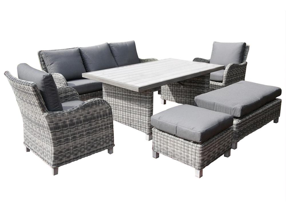 Комплект НиццаКомплекты уличной мебели<br>Каркас кресел, дивана и пуфика изготовлены из алюминия, легкий, прочный металл, совершенно не боится коррозии. Благодаря каркасу, изготовленному из алюминия, комплект мебели выдерживает большой вес. Покрытие кресел - искусственное пластиковое плетение имитирующее ротанг, отличается прочностью и долговечностью. Такое покрытие с легкостью выдерживает любые погодные условия.&amp;lt;div&amp;gt;&amp;lt;br&amp;gt;&amp;lt;/div&amp;gt;&amp;lt;div&amp;gt;&amp;lt;div&amp;gt;Комплектация: обеденный стол, два кресла с подушками, диван (трехместный) с подушкой на сидении и тремя подушками на спинке, два пуфика разного размера с мягкими подушками&amp;lt;/div&amp;gt;&amp;lt;div&amp;gt;&amp;lt;br&amp;gt;&amp;lt;/div&amp;gt;&amp;lt;div&amp;gt;Материал: искусственный ротанг/алюминий&amp;lt;/div&amp;gt;&amp;lt;div&amp;gt;Размеры: стол 170*100*70 см&amp;lt;/div&amp;gt;&amp;lt;div&amp;gt;Размеры: диван 191*82* 88 см&amp;lt;/div&amp;gt;&amp;lt;div&amp;gt;Размеры: пуфик 58*58*33/58*116*33 см&amp;quot;&amp;lt;/div&amp;gt;&amp;lt;/div&amp;gt;&amp;lt;div&amp;gt;Размер: кресло 71*81*88 см&amp;lt;br&amp;gt;&amp;lt;/div&amp;gt;<br><br>Material: Искусственный ротанг<br>Ширина см: 191<br>Высота см: 82<br>Глубина см: 88
