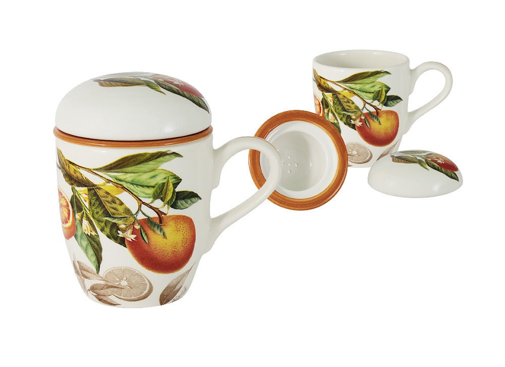 Кружка с керамическим ситечком и крышкой АпельсиныЧайные пары, чашки и кружки<br>Объем кружки 0,3 л<br><br>Material: Керамика<br>Высота см: 13