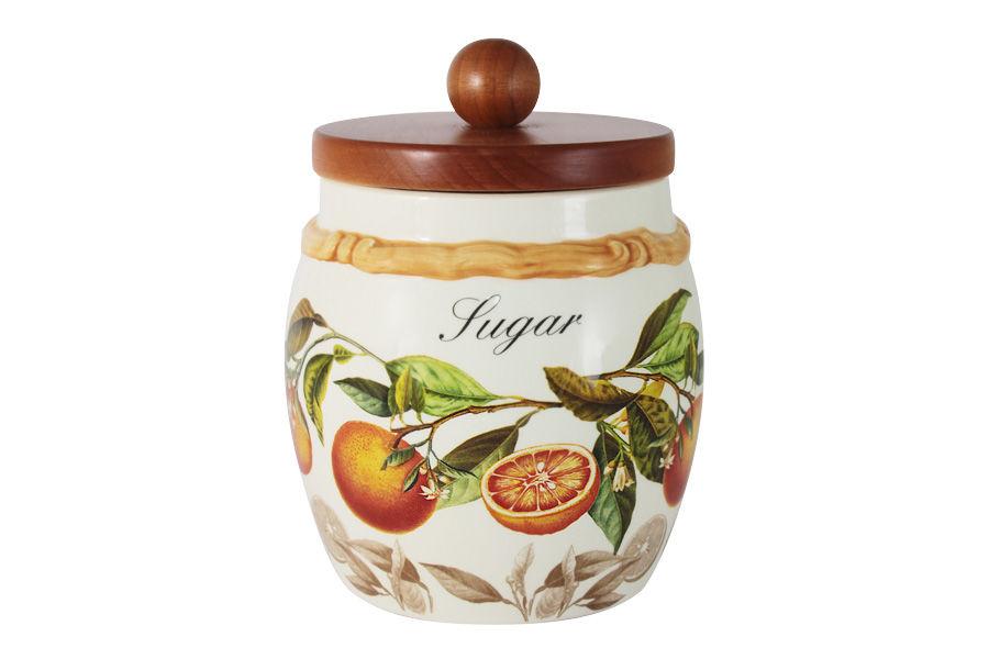 Банка для сыпучих продуктов АпельсиныЕмкости для хранения<br>Объем банки 0,75 л<br><br>Material: Керамика<br>Height см: 18<br>Diameter см: 13