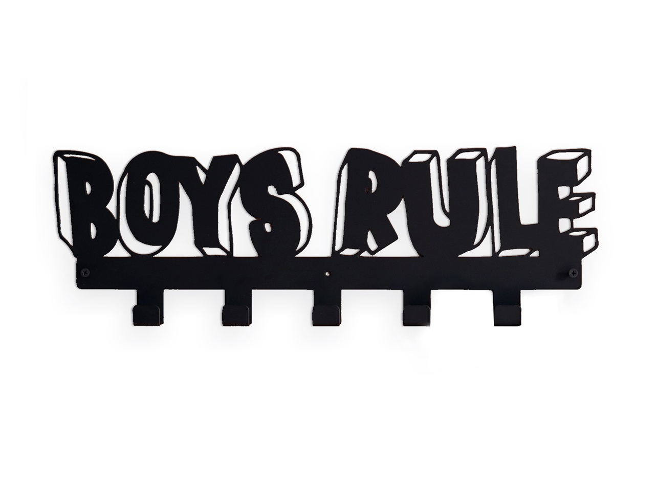 Вешалка BOYS RULEВешалки<br>Каждый любящий родитель хочет, чтобы его ребенок был аккуратным и опрятным.<br>Настенная вешалка BOYS RULE это - креативный способ украсить комнату мальчика и приучить его соблюдать порядок. Пусть это будут ЕГО ПРАВИЛА! <br>Вешалка идеально подходит для верхней одежды, рюкзаков и аксессуаров.<br>Вешалка&amp;amp;nbsp;BOYS RULE изготовлена из прочной стали и легко крепится к стене с помощью обычных дюбелей.<br><br>Material: Сталь<br>Ширина см: 50<br>Высота см: 15<br>Глубина см: 3