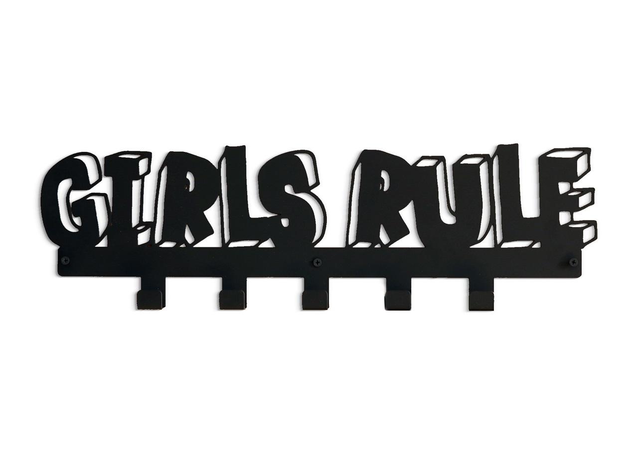 Вешалка GIRLS RULEВешалки<br>Каждый любящий родитель хочет, чтобы его ребенок был аккуратным и опрятным.<br>Настенная вешалка GIRLS RULE - это стильный предмет дизайна, который украсит интерьер комнаты девочки. Вешалка идеально подходит для верхней одежды, рюкзаков и аксессуаров.<br>Вешалка&amp;amp;nbsp;GIRLS RULE изготовлена из прочной стали и легко крепится к стене с помощью дюбелей в комплекте.<br><br>Material: Сталь<br>Length см: None<br>Width см: 55<br>Depth см: 3<br>Height см: 15<br>Diameter см: None