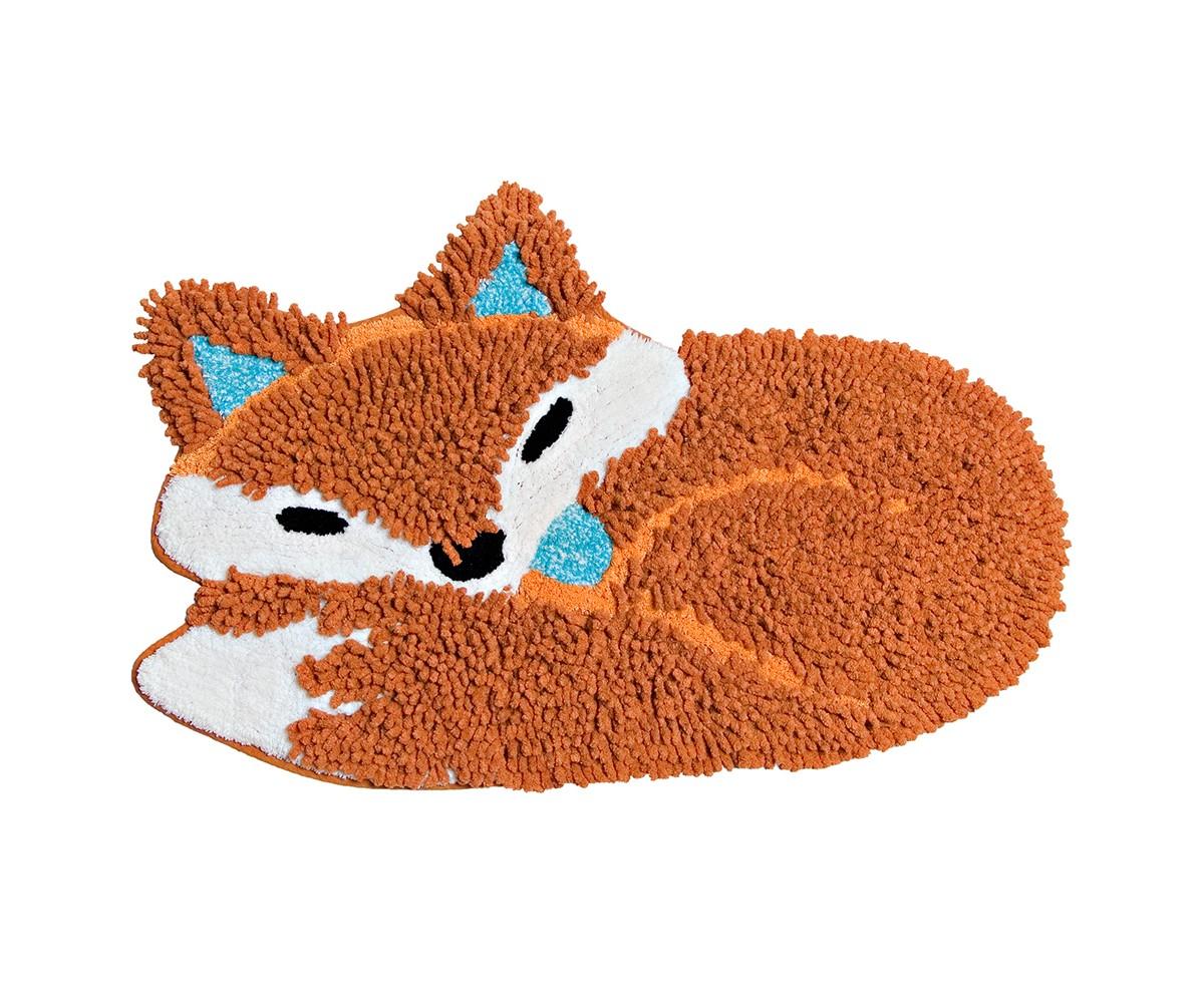 Коврик ЛисаФигурные ковры<br>Коврик имеет оригинальный дизайн в виде спящей лисы, необычайно мягкий и приятный на ощупь, имеет ворс двух видов - длинный и короткий. <br>Благодаря своему составу (100% хлопок), он обладает гипоаллергенными свойствами, экологичен и очень удобен в использовании и в уходе. Можно стирать в машинке.<br><br>Material: Хлопок<br>Ширина см: 50<br>Глубина см: 80