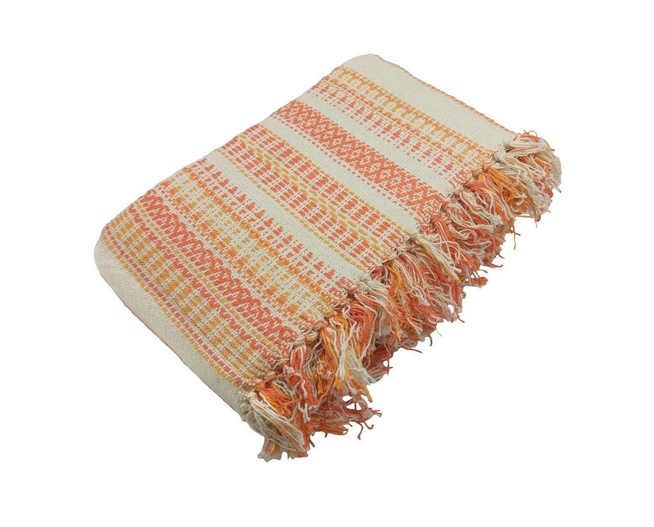 Покрывало Русский фолкПокрывала<br>Хлопковое объемное вязаное покрывало натурального небеленого оттенка с контрастными желто-оранжевыми узорчатыми полосами.&amp;amp;nbsp;&amp;lt;div&amp;gt;Край покрывала оформлен кистями&amp;lt;/div&amp;gt;<br><br>Material: Хлопок<br>Ширина см: 160<br>Глубина см: 220