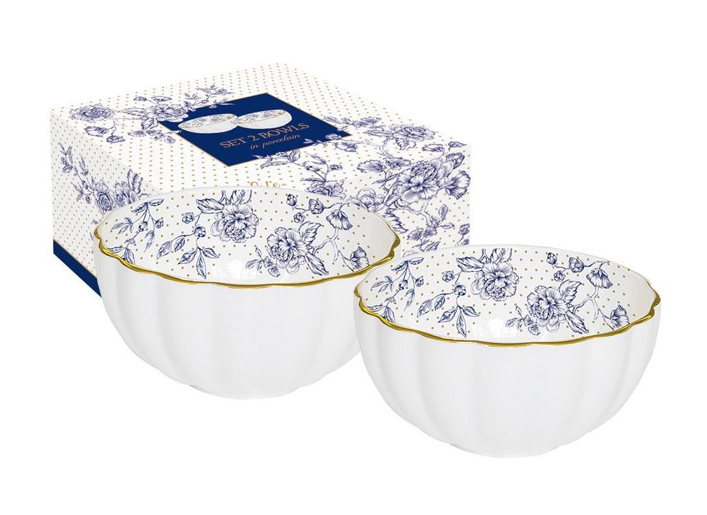 Набор салатников Голубые пионы (2 шт)Миски и чаши<br><br><br>Material: Фарфор<br>Высота см: 6