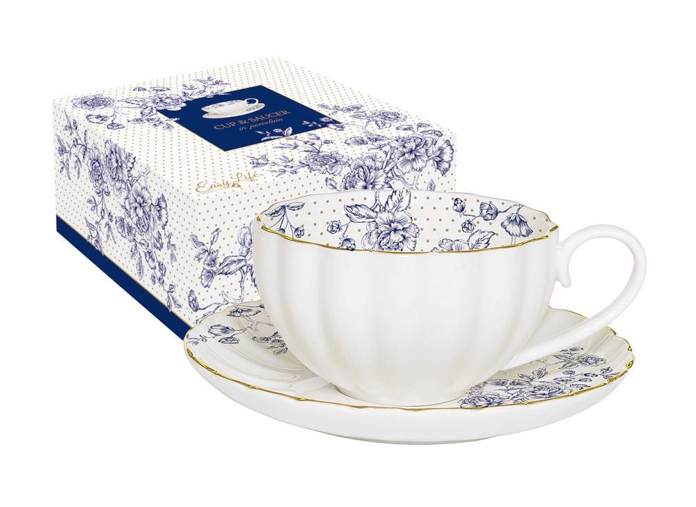 Чашка с блюдцем Голубые пионыЧайные пары, чашки и кружки<br><br><br>Material: Фарфор<br>Высота см: 6