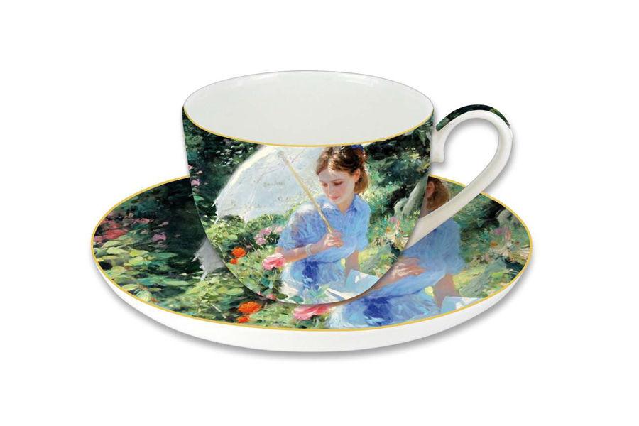 Чашка с блюдцем Летний деньЧайные пары, чашки и кружки<br>Объем 0,28 л<br><br>Material: Фарфор<br>Height см: 8<br>Diameter см: 15
