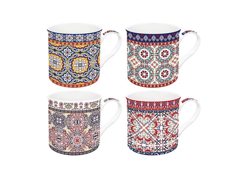 Набор кружек Марокко (4 шт)Чайные пары, чашки и кружки<br>Объем 0,3 л<br><br>Material: Фарфор<br>Height см: 12,5<br>Diameter см: 8,2