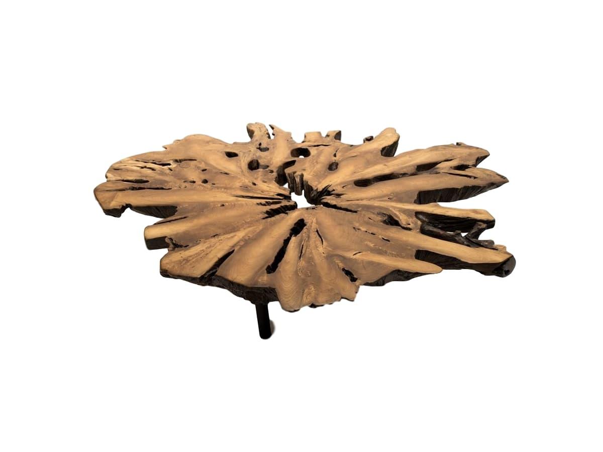 Журнальный стол RootOneЖурнальные столики<br>Столешница из корня тика придает этому кофейному столу на круглых металлических ножках особую выразительность. Тут и фактура, и  уникальная текстура, и легенда. Каждый стол индивидуален уникален, ведь здесь дизайнер – сама природа.<br><br>Material: Тик<br>Ширина см: 150<br>Высота см: 32<br>Глубина см: 130