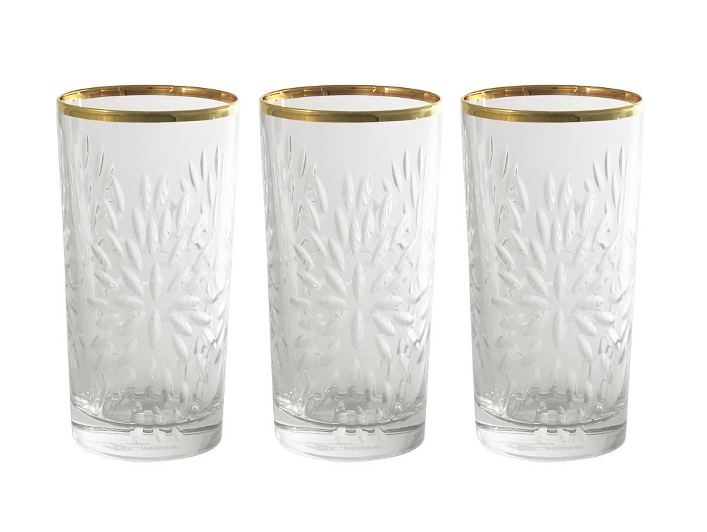 Набор стаканов для воды Умбрия - золото (6 шт)Стаканы<br>Объем одного стакана 0,35 л<br><br>Material: Хрусталь<br>Height см: 14,3<br>Diameter см: 7,2