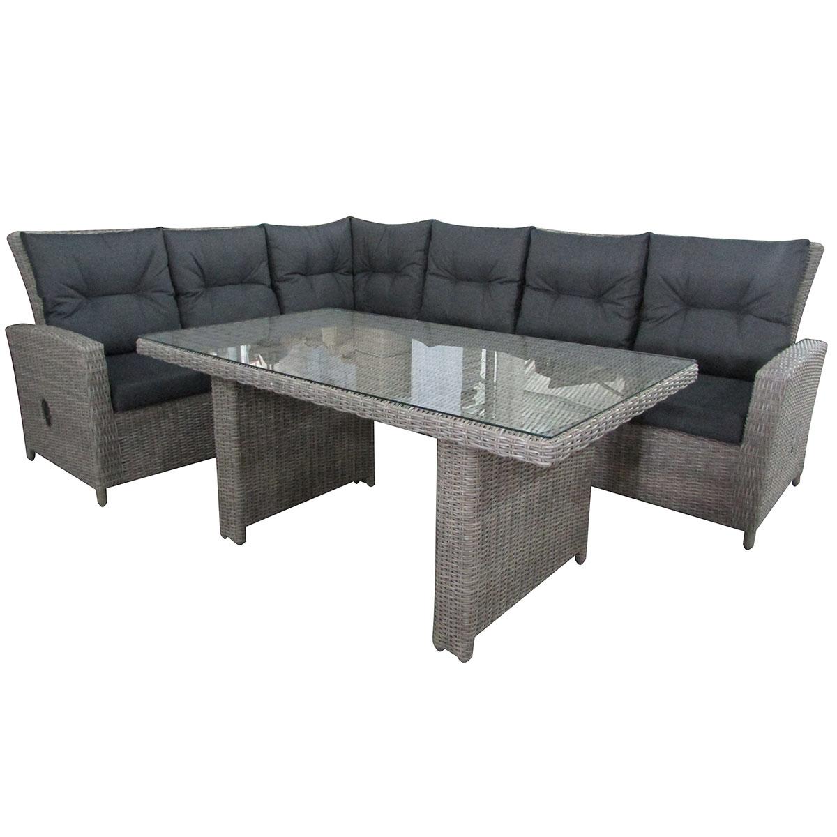 Угловой комплект San MarinoКомплекты уличной мебели<br>Угловой комплект плетеной мебели San Marino состоит двух секций и высокого обеденного стола (стеклянная столешница включена в стоимость). Особенность комплекта - регулируемые по наклону спинки секций.Каркас модели алюминиевый.Подушки включены в стоимость комплекта<br><br>Material: Искусственный ротанг<br>Ширина см: 392<br>Высота см: 84<br>Глубина см: 76