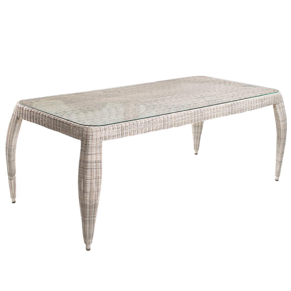 Стол HagaСтолы и столики для сада<br>Стол Haga изготовлен из искусственного ротанга на алюминиевом каркасе. Дизайн изящный и необычный. Не требуется сборка. Коллекция мебели Haga<br><br>Material: Искусственный ротанг<br>Ширина см: 200<br>Высота см: 75<br>Глубина см: 100