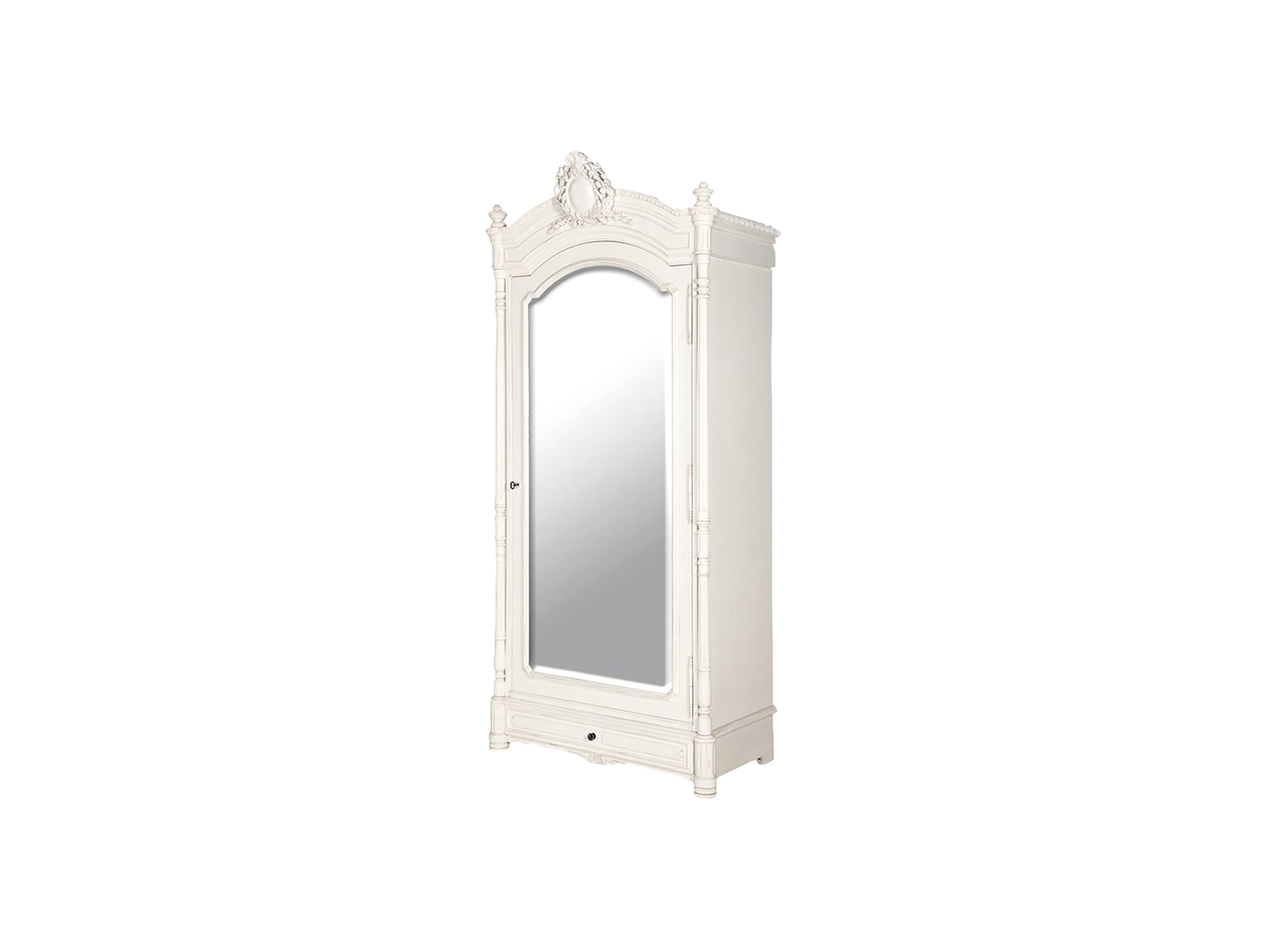 Шкаф платянойПлатяные шкафы<br>Шкаф платяной с большим зеркалом, декорирован резьбой ручной работы и патиной.<br><br>Material: Красное дерево<br>Width см: 102<br>Depth см: 56<br>Height см: 226