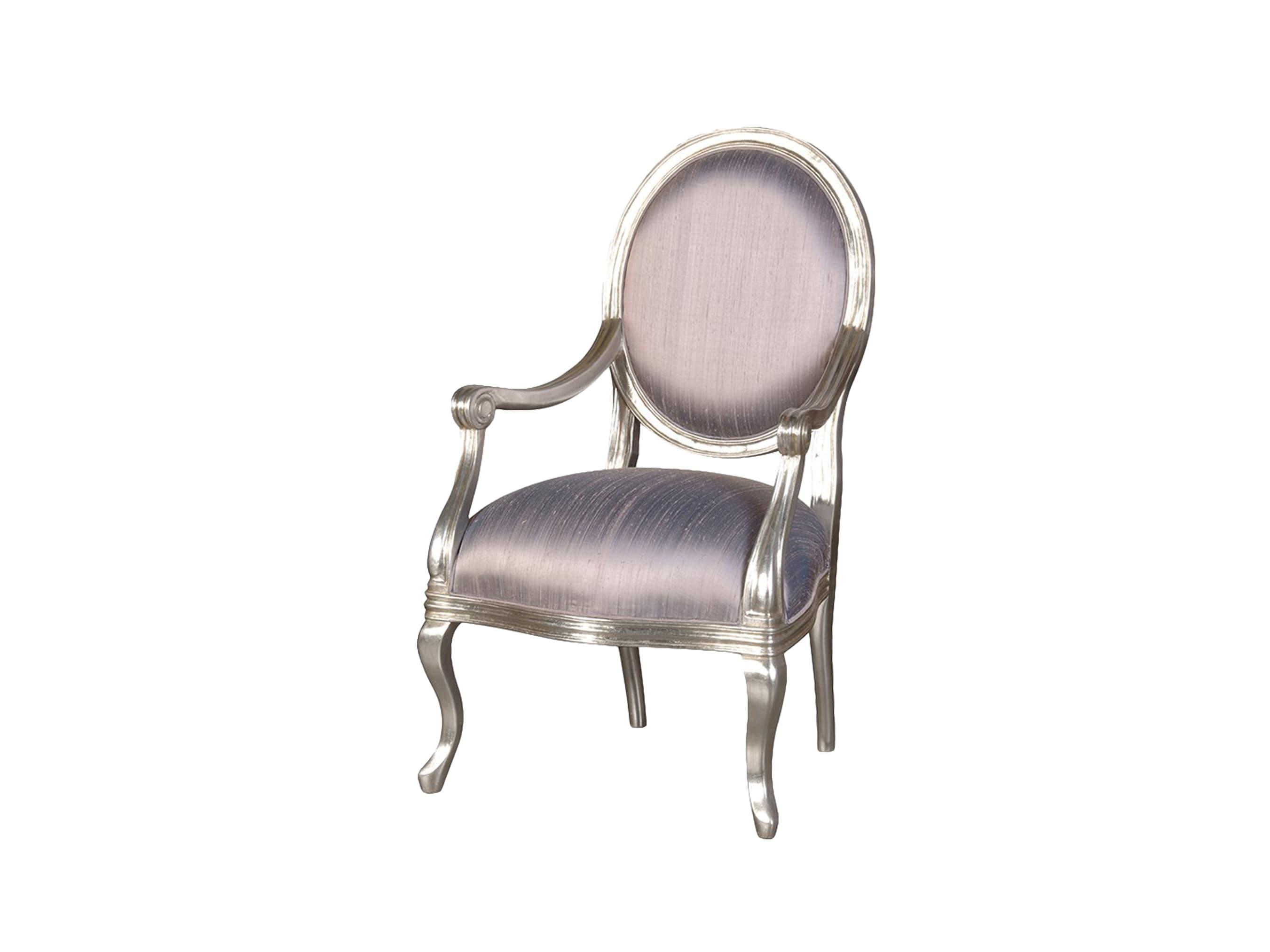 ПолукреслоСтулья с подлокотниками<br>Кресло с мягкой спинкой &amp;quot;медальон&amp;quot;, глубокого  серого цвета, в шелковой обивке.<br><br>Material: Шелк<br>Width см: 65<br>Depth см: 58<br>Height см: 106