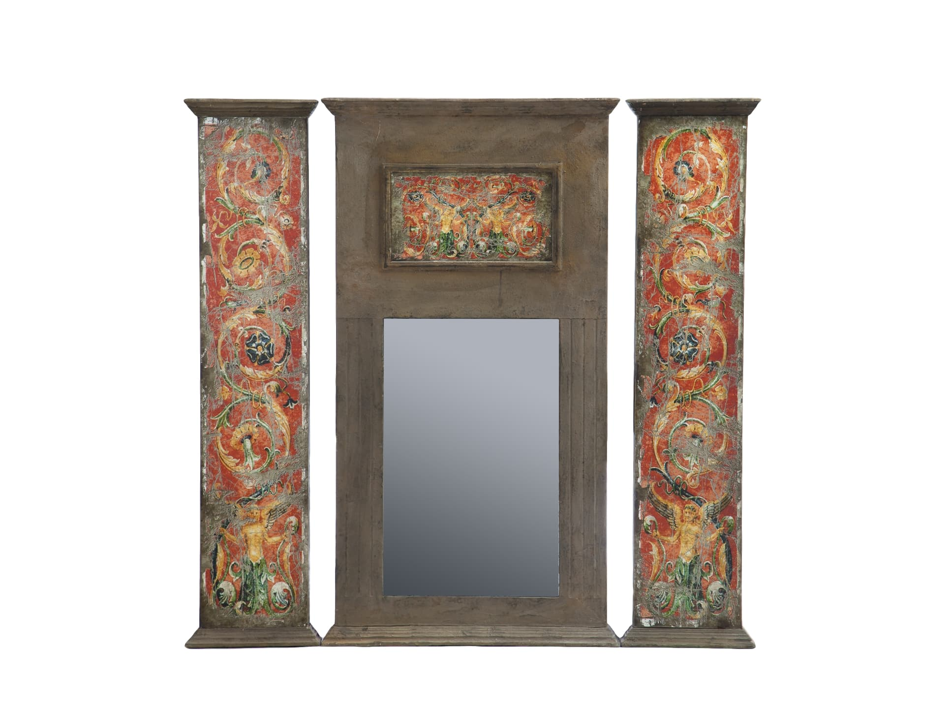 Зеркало из трех частейНастенные зеркала<br>Зеркало из трех частей, рама декорирована рисунком и старением.<br><br>Material: МДФ<br>Ширина см: 150<br>Высота см: 155