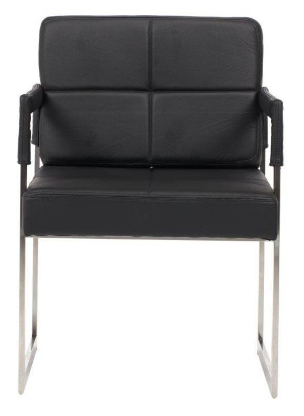Кресло AsterКожаные кресла<br>Стильное и эффектное кресло, выполненное в стиле ар-деко, завораживает простотой форм и повторяющимся геометрическим мотивом. Надежным основанием и одновременно удобными подлокотниками служат две прямоугольные рамы, к которым крепятся мягкое квадратное сиденье и прямоугольная спинка. Черно-белое цветовое решение усиливает произведенный эффект. Это кресло станет удачным дополнением любого интерьера, как классического, так и современного.<br><br>Material: Кожа<br>Ширина см: 55<br>Высота см: 89<br>Глубина см: 60