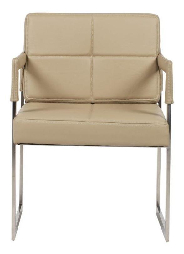 Кресло  Aster PremiumКожаные кресла<br>Это кресло из итальянской кожи бежевого цвета прекрасно подойдет как для домашних комнат, так и для модного офисного интерьера. Элегантность, современность, шик достигаются благодаря сочетанию строгих геометрических линий, прямых углов, хромированных деталей и великолепной кожи натурального оттенка. Сидеть в таком кресле несомненное удовольствие.<br><br>Material: Кожа<br>Length см: None<br>Width см: 55.0<br>Depth см: 60.0<br>Height см: 89.0<br>Diameter см: None