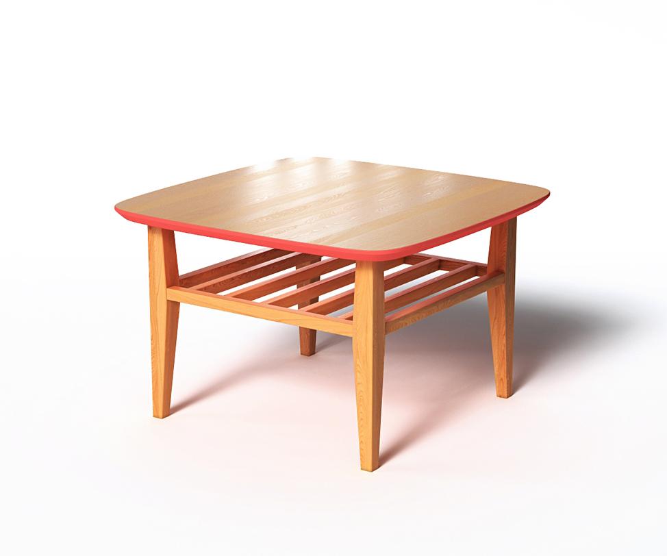 Журнальный стол WilsonЖурнальные столики<br>Небольшой журнальный столик Wilson изготовлен из натурального массива дуба с крышкой из шпонированного МДФ. Ножки и решетчатая полка благодаря минимальной обработке сохранили естественный древесный цвет и структуру. Столешница с чуть скругленными краями в нижней части и на торце окрашена в насыщенный коралловый оттенок.<br>Срок изготовления 10 рабочих дней.<br><br>Material: Дуб<br>Ширина см: 70<br>Высота см: 45
