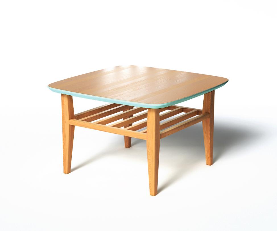 Журнальный стол WilsonЖурнальные столики<br>Невысокий журнальный стол Wilson изготовлен из натуральной древесины светлого оттенка, а столешница – из плиты МДФ. С торцевой части крышка декорирована фаской нежного мятного оттенка, которая придает предмету интерьера романтичную нотку.<br>Срок изготовления 10 рабочих дней.<br><br>Material: Дуб<br>Ширина см: 70<br>Высота см: 45.0<br>Глубина см: 70.0