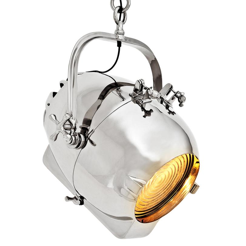Cветильник SpitfireПодвесные светильники<br>Люстра в форме сигнального огня с носа корабля -- это совершенство в деталях. Блестящая никелированная поверхность, регулируемый угол наклона, теплый свет. Отлично смотрится как отдельно, так и в наборе из нескольких светильников, размещенных на разной высоте и под разным углом.<br><br>Material: Металл<br>Height см: 66<br>Diameter см: 40