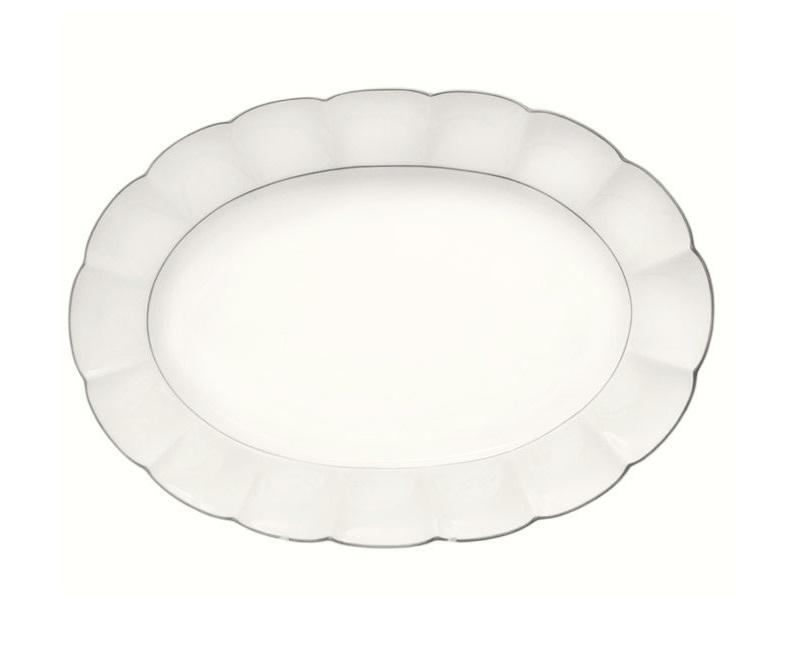 Овальное блюдо Серебряный лотосДекоративные блюда<br><br><br>Material: Фарфор