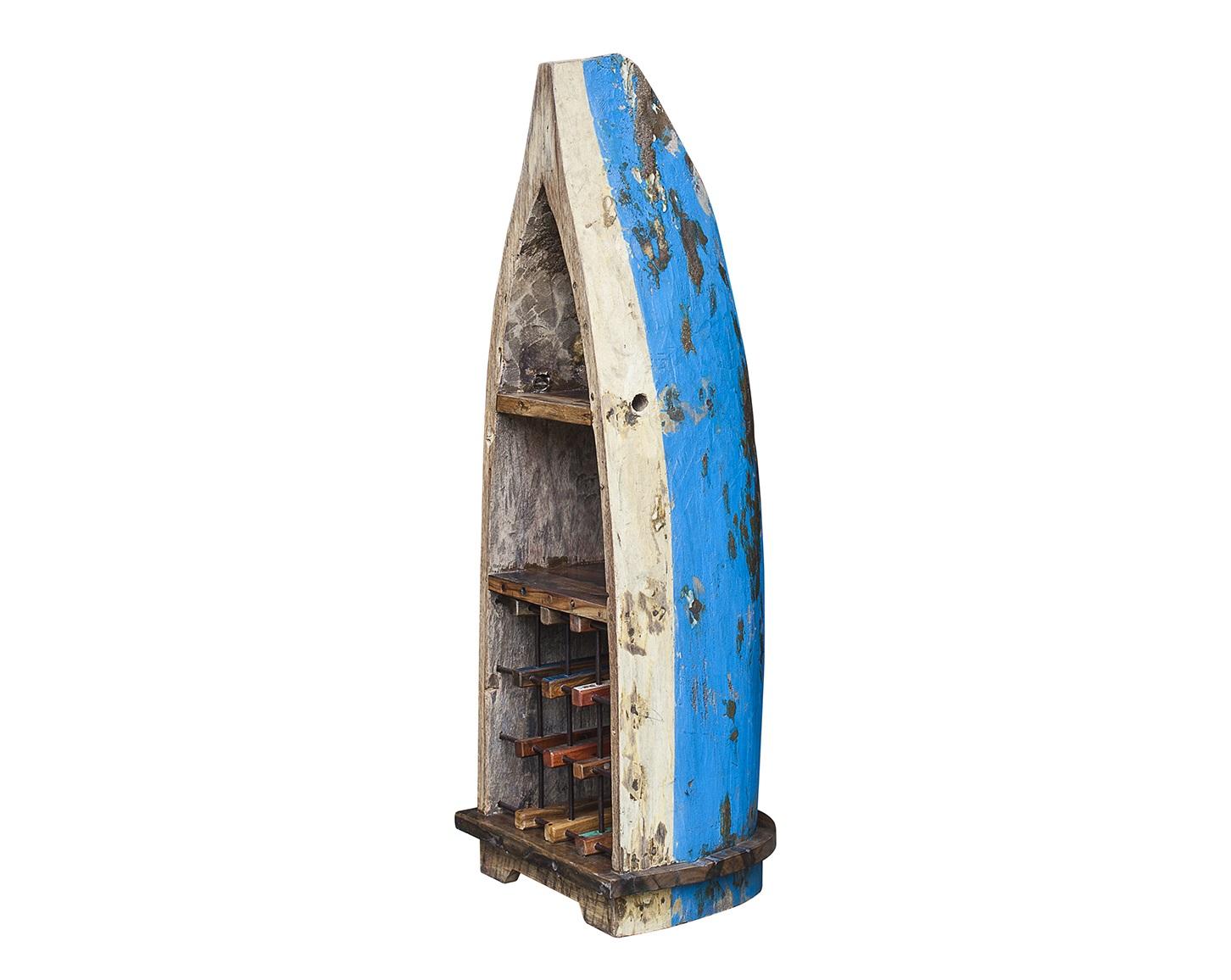 Винный шкаф малый ОдиссейВинные шкафы<br>Винный шкаф, выполненный из старой рыбацкой лодки классической правильной формы с сохранением оригинальной многослойной окраски.<br>Хранит до 15 бутылок. <br>Подходит для использования как внутри помещения, так и снаружи. <br>Сборка не требуется. <br>Покрытие: шеллак <br>Материал: массив тика (махогони, суара)<br><br>Material: Тик<br>Width см: 45<br>Depth см: 51<br>Height см: 140