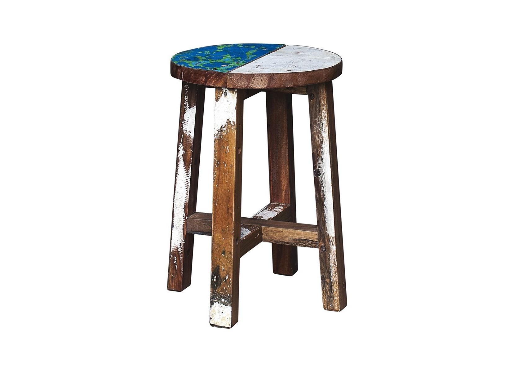 Табурет КингТабуреты<br>Табурет, выполненный из массива древесины старого рыбацкого судна, такой как: тик, махогон, суар, с сохранением оригинальной многослойной окраски.<br><br>Компактный размер делает его идеальным для небольших пространств.<br>Подходит для использования как внутри помещения, так и снаружи.<br>Сборка не требуется.<br>Страна производитель - Индонезия.<br><br>Material: Тик<br>Width см: 30<br>Depth см: 30<br>Height см: 45
