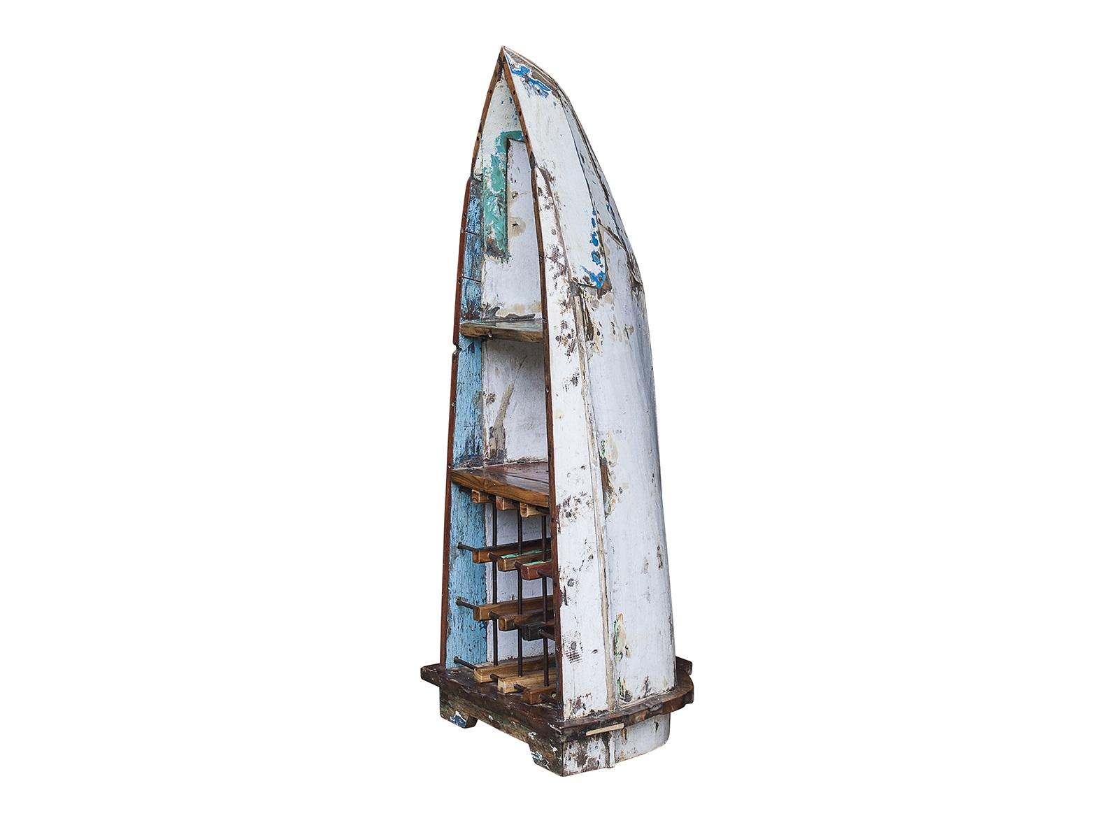 Винный шкаф малый КонюховВинные шкафы<br>Винный шкаф, выполненный из старой рыбацкой лодки классической правильной формы с сохранением оригинальной многослойной окраски.<br>Хранит до 15 бутылок. <br>Подходит для использования как внутри помещения, так и снаружи. <br>Сборка не требуется. <br>Покрытие: шеллак <br>Материал: массив тика (махогони, суара)<br><br>Material: Тик<br>Ширина см: 54<br>Высота см: 140<br>Глубина см: 55