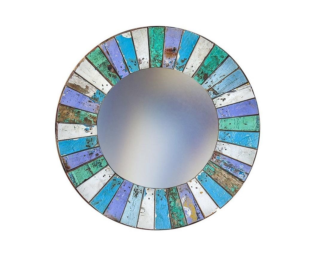 Зеркало КолобокНастенные зеркала<br>Круглое зеркало выполнено из фрагментов настоящего рыболовецкого судна, возраст которого 20-40 лет. Окрас сохранён оригинальный. Диаметр 78 см.<br><br>Material: Тик<br>Width см: None<br>Depth см: 4<br>Height см: None<br>Diameter см: 78