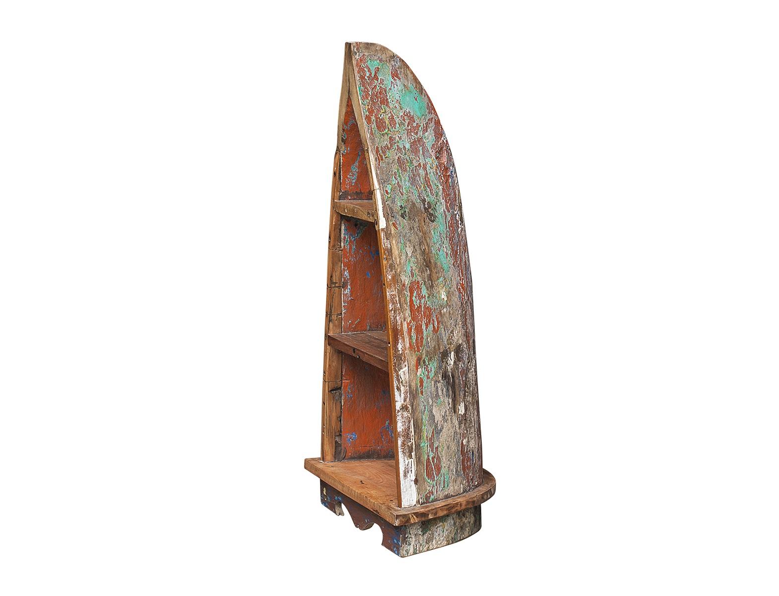 Стеллаж из лодки малый РублёвСтеллажи и этажерки<br>Напольный стеллаж, выполненный из старой рыбацкой лодки изящной вытянутой формы с сохранением оригинальной многослойной окраски.<br><br>Имеет 3 полки разной вместимости.<br>Подходит для использования как внутри помещения, так и снаружи.<br>Сборка не требуется.<br>Страна производитель - Индонезия.<br><br>Material: Тик<br>Ширина см: 36<br>Высота см: 120<br>Глубина см: 57