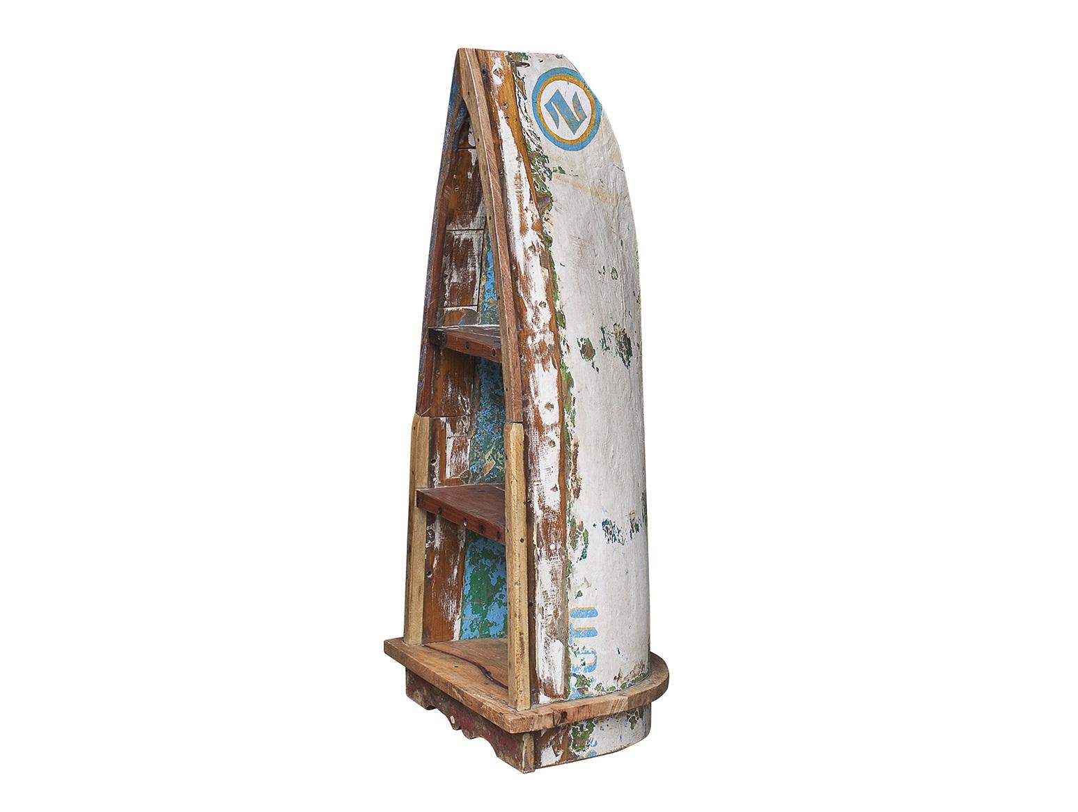 Стеллаж из лодки малый ВаснецовСтеллажи и этажерки<br>Напольный стеллаж, выполненный из старой рыбацкой лодки изящной вытянутой формы с сохранением оригинальной многослойной окраски.<br><br>Имеет 3 полки разной вместимости.<br>Подходит для использования как внутри помещения, так и снаружи.<br>Сборка не требуется.<br>Страна производитель - Индонезия.<br><br>Material: Пластик<br>Ширина см: 42<br>Высота см: 121<br>Глубина см: 57